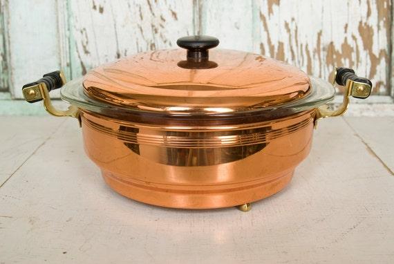 Vintage Coppercraft Guild Pyrex and Copper Casserole Serving Dish