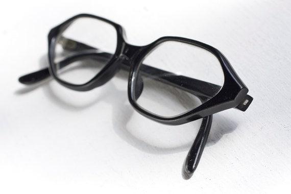 Vintage Hexagonal Cat Eye Eyeglass Frames, Black, Made in France