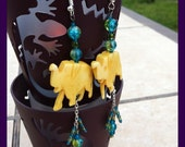 Handmade OOAK African Handcarved Bone Yellow Elephant Tribal Inspired Bead Earrings with Blue and Yellow Crackle Beads