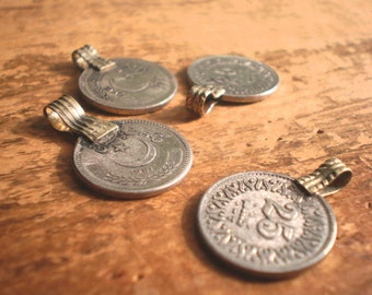 Peshtun Authentic Kuchi Tribal Coin Charms and Pendants (4) - Ethnic Coin Charm - Pakistani Jewelry - Traditional Bellydancing Jewelry