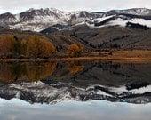 Fall colors lake reflecting mountains Colorado landscape photograph print 16x20