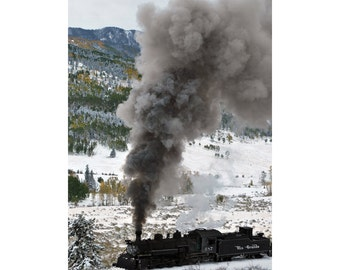 Steam train in snow with fall colors colorado fine art photograph print 5x7