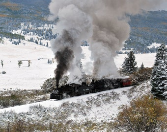 Steam train in snow with fall colors colorado fine art photograph print 8x10