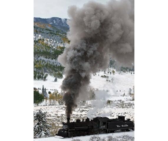 Steam train in snow with fall colors colorado fine art photograph print 5x7