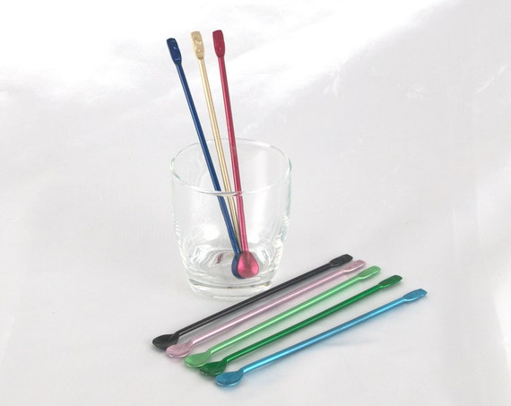 Mid Century Colored Aluminum Drink Mixers, Stir Sticks, Vintage Barware in Original Box