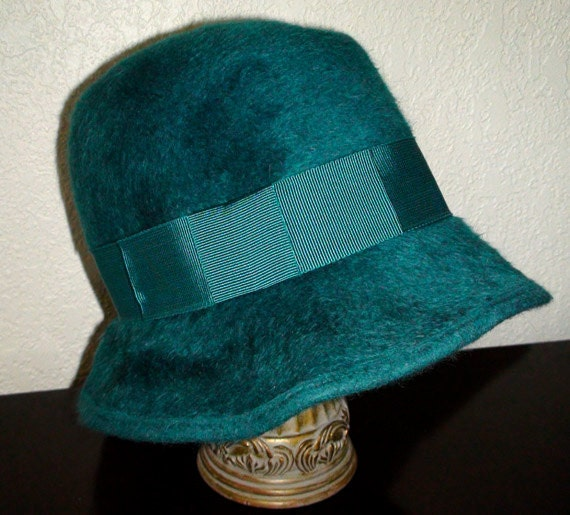 Helen Kaminski Teal Cloche Candice Rabbit Fur Felt Hat
