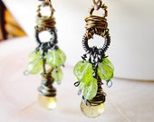 Forest Nymph Earrings Lemon Quartz Peridot wire wrapped August birthstone handmade free us shipping