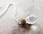 Soft Blush Necklace Crystal Quartz wire wrapped Rose Gold Oxidized Silver Simple Neutral