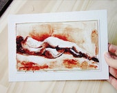 Sewn Print - Reclinded Nude watercolor painting, peach figure painting