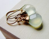 Mint Chalcedony and Gold Earrings Green Chalcedony 14K gold wire wrapped dangle stone pastel summer fashion