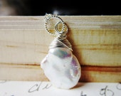 Keshi Pearl Necklace - Sterling Silver wire wrapped organic jewelry June birthstone