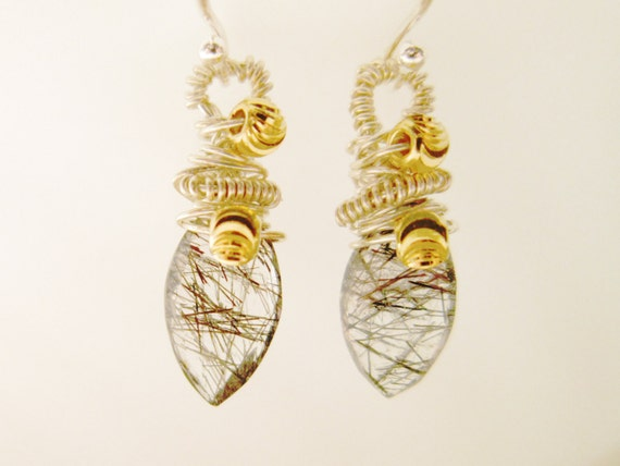 Sterling Silver Tourmalinated Quartz Earrings black and white Cyber Monday
