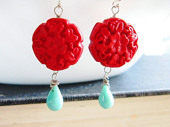 Cinnabar Flower Earrings Red Clay Flowers turquoise Czech Glass Dangle Oxidized Silver
