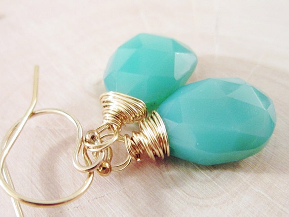 Pistachio Earrings Chrysoprase Green Chalcedony wire wrapped 14K Gold danlge under 30 fashion