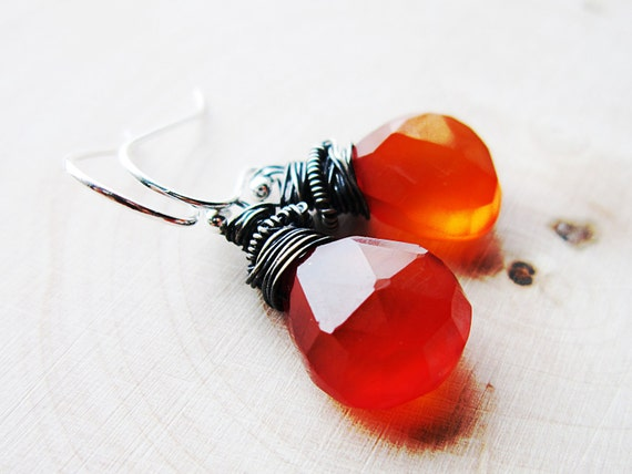 Red Stone Earrings Oxidized Silver Tomato Red Fashion