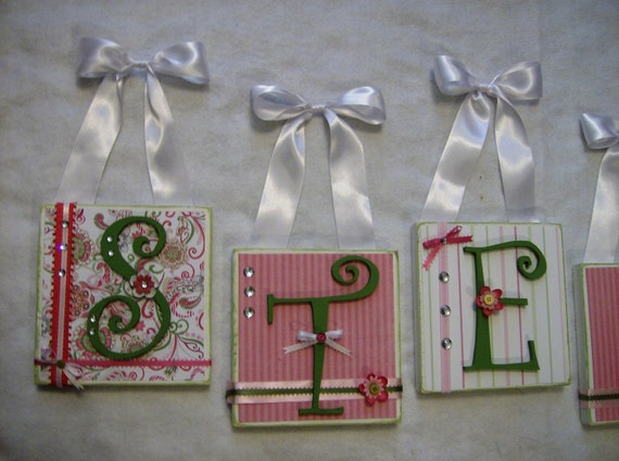 Pink Green Paisley Nursery Wall Letters By InspiredByVenice