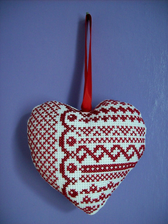 Hand made cross stitched hanging heart decoration, Valentines Day