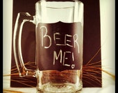 Glass Beer Stein with Black Chalk Board Decoration Write anything to customize your drink