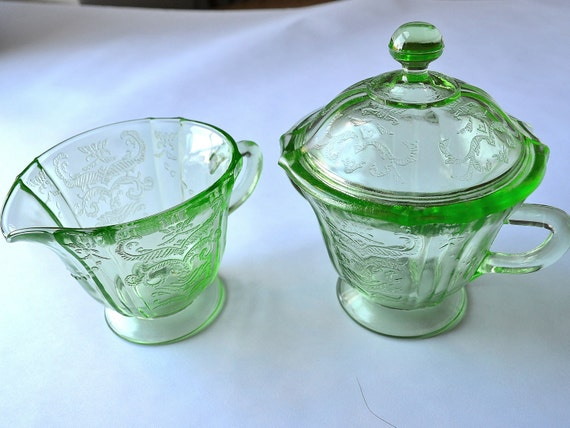 Green Depression Glass Cream And Sugar Bowl With Lid Madrid