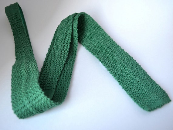 Green Tie - Classic 80s Grass Green Skinny Tie -  Square Neck Crochet Knit