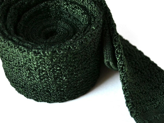 Dark Green Tie - Crochet Knit Skinny Tie