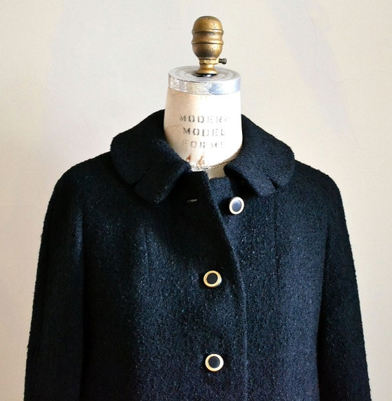 Black Wool Coat - Vintage 1960s Women's Black Boucle