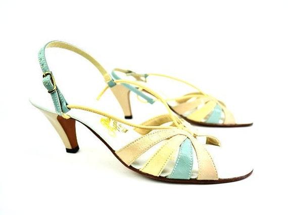 Summer Strappy Sandals - Vintage Hush Puppies Heels - 8.5 N