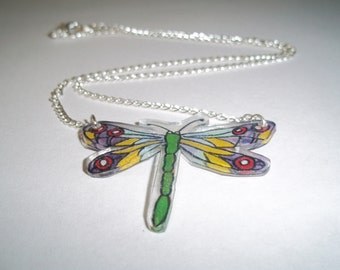 Shrink Plastic Dragonfly Pendant Necklace
