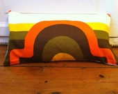 Handmade cushion cover with retro orange, yellow and brown mid century fabric