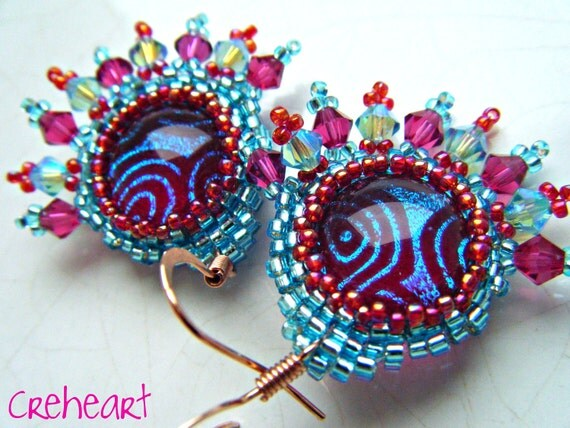 Handmade Beadwork with Dichroic glass cabochons and Swarovski Crystal bicones -Earrings - Raspberry Swirls