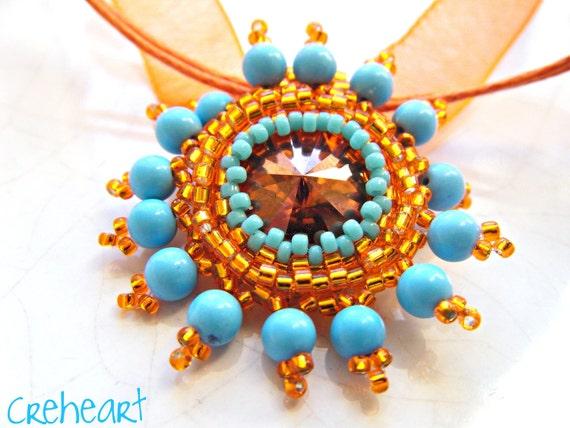 Handmade Swarovski Crystal Pendant - Mandarin - Sunshine Collection