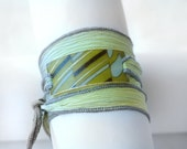Gold Tone Accent on Silk Ribbon Bracelet