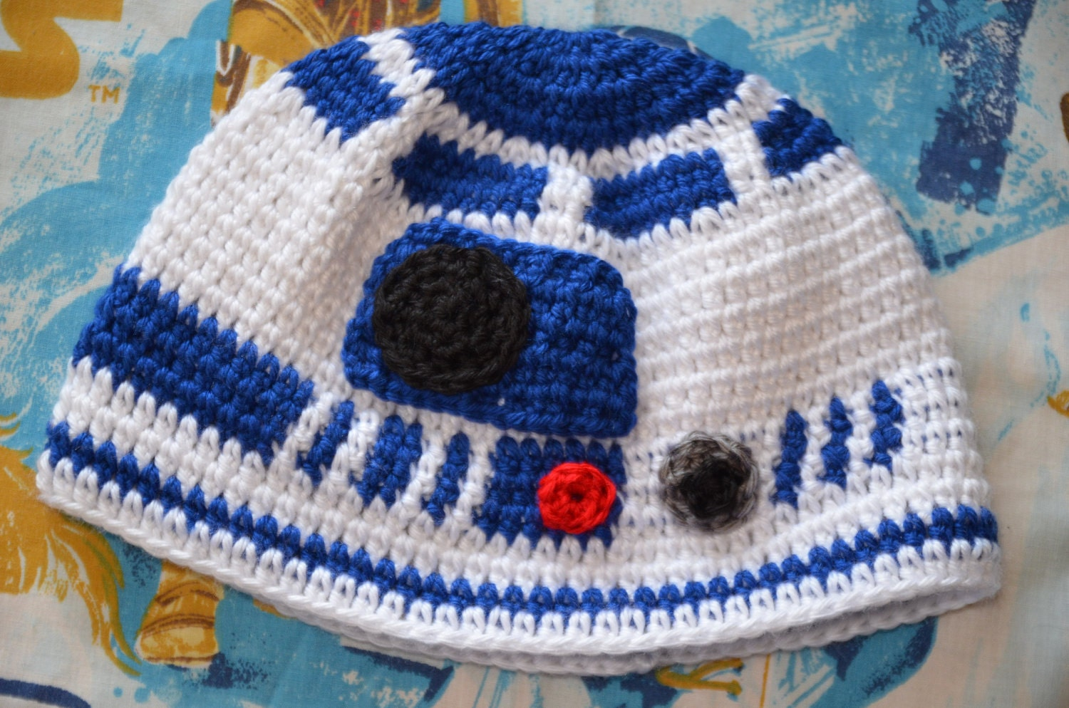 R2d2 Hat Knitting Pattern : PATTERN R2-D2 Crochet Hat Pattern Teen & Adult by FoofAndCompany