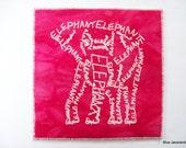 Pink Elephant Word Art Screen Print White on Hot Pink Calligram Card