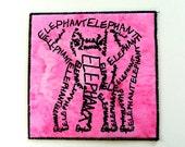 Pink Elephant Screen Print Word Art Calligram