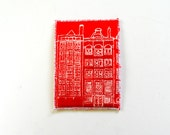 Dutch Houses ACEO Screen Print on Fabric White on Red Mini Art Card