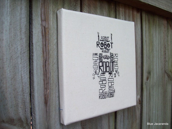 Robot Word Art Screen Print Stretched on Canvas