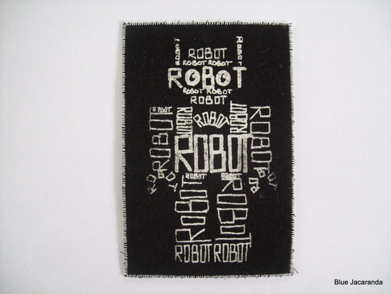 Robot Word Art Screen Print White on Black