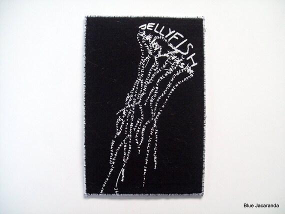 Jellyfish Calligram Card - White Screen Print on Black - Word Art