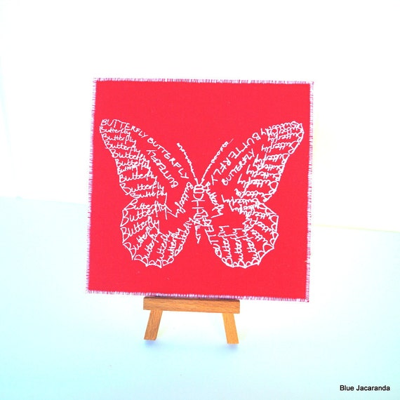 Butterfly Word Art Card - Screen Print - White on Red - Calligram