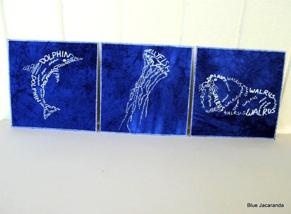 Sea Animal Prints - Set of 3 - Word Art - White Screenprint on Blue