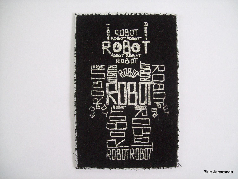 Robot Word Art Screen Print White On Black