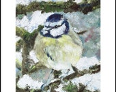 "Christmas Cards Pack Blue Tit High Quality Glossy 260gsm card with envelopes x10 A5(5 3/4"" x 8 1/4"")"
