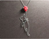 Flying Cat Necklace - wire, crystal beads, wool felt