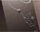 Climbing Cat Necklace - wire, crystal beads