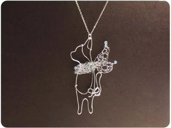 Cat w/ Scarf Necklace - wire, crystal beads - MADE TO ORDER