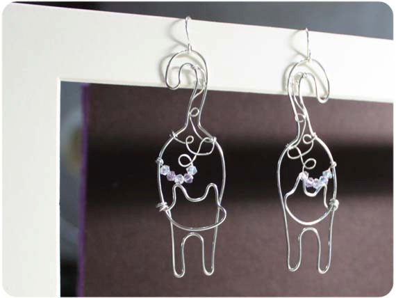 Cat Earrings, wire with crystal beads