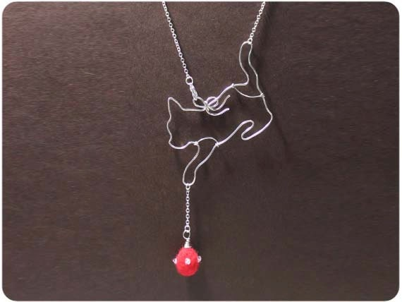 Curious Cat Necklace - wire, crystal beads, wool felt
