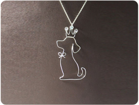 Dog and Crown, Necklace - wire, crystal beads