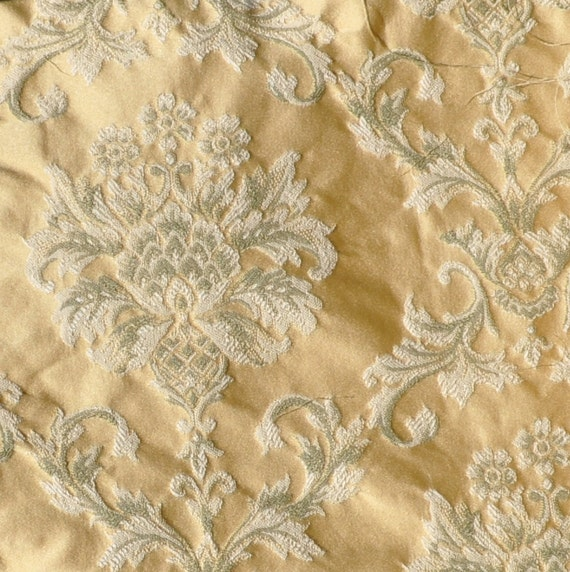 Brocade Upholstery Fabric in Yellow - Destash Over 2 Yards